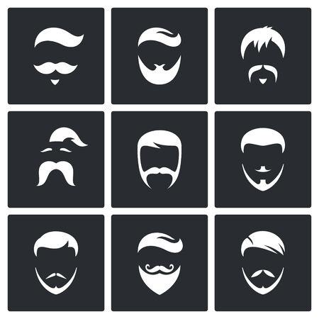 hombres negros: Estilos de pelo vector Iconos de la colecci�n sobre un fondo negro Vectores