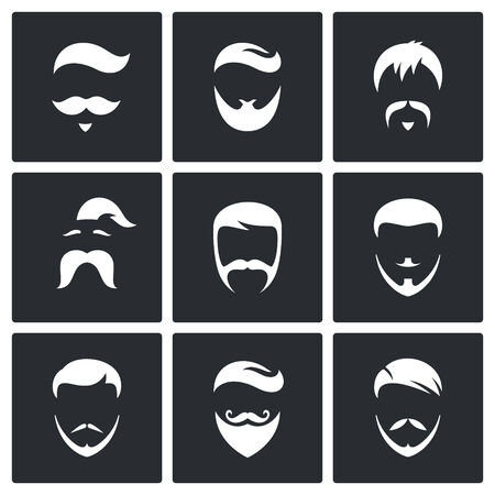 men hairstyle: Hair Styles vector icons collection on a black background