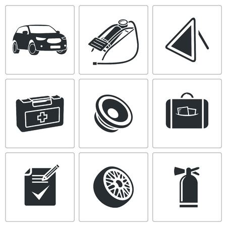 tcp: Car service icons collection on a white background