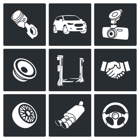 Car service icons collection on a black background