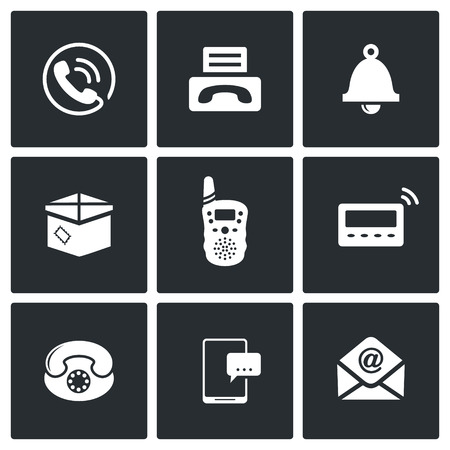 pager: communication icon collection on a black background Illustration