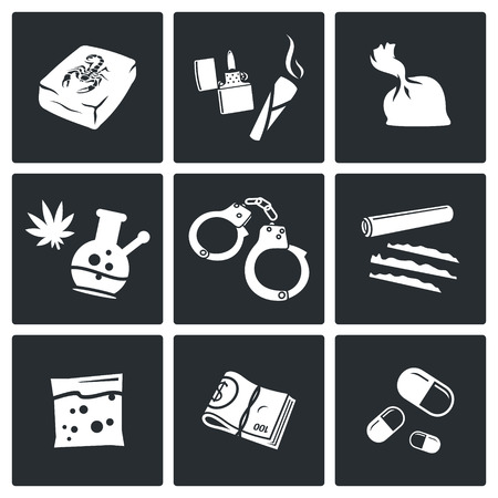 heroin: Illegal drugs vector icon collection on a black background Illustration
