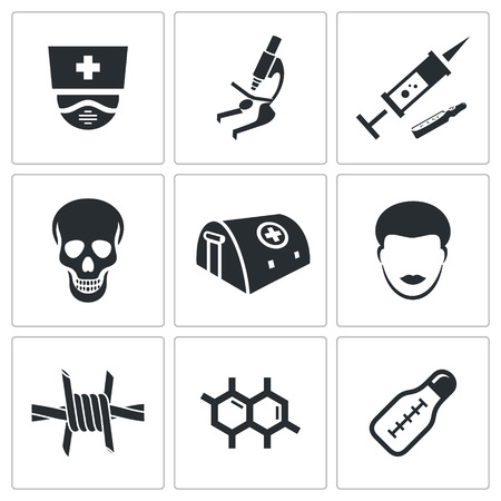 Ebola icon collection on a white background