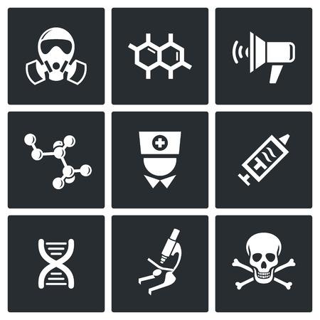 Ebola icon collection on a black background Vector