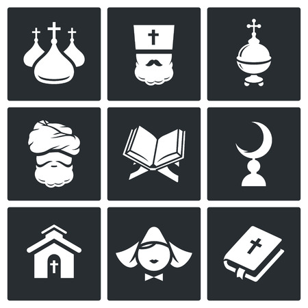 Religion Icon collection on a black background