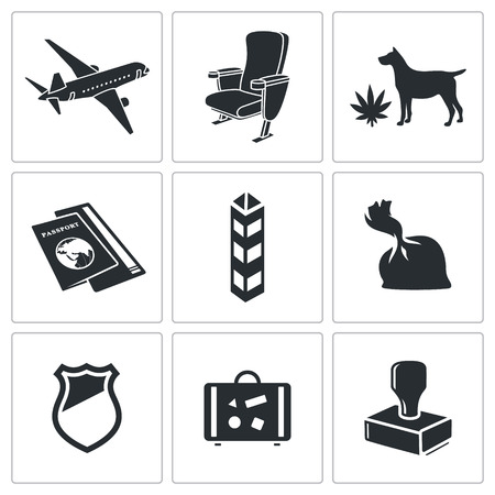 trafficking: drug trafficking by air icon collection on a white background Illustration