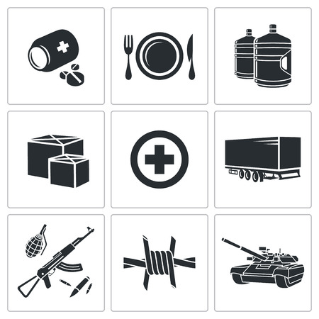humanitarian: Humanitarian relief Icons collection on a white background