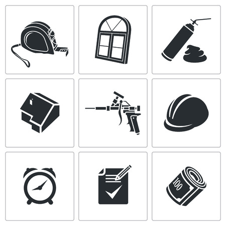 Icons set furniture on a white background Vector