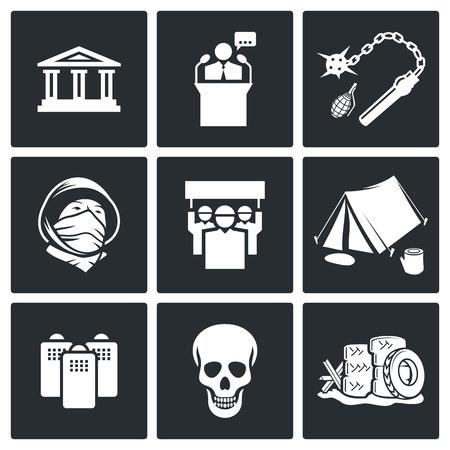 dictature: d�monstration collection d'ic�nes sur un fond noir Illustration