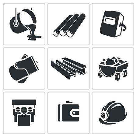 mineria: Colecci�n Metalurgia icono sobre un fondo blanco