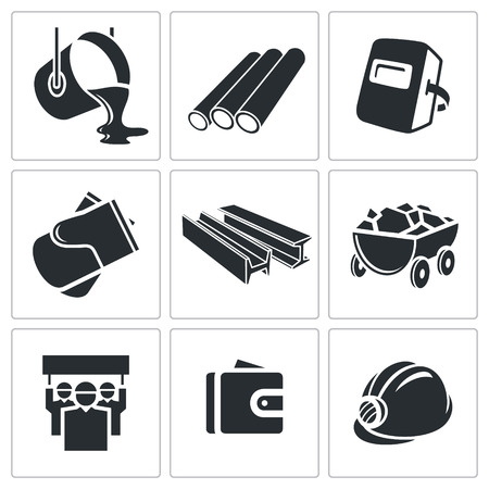 Metallurgy Icon collection on a white background Çizim