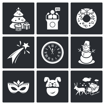 Set of nine black new year isolated icons Vector