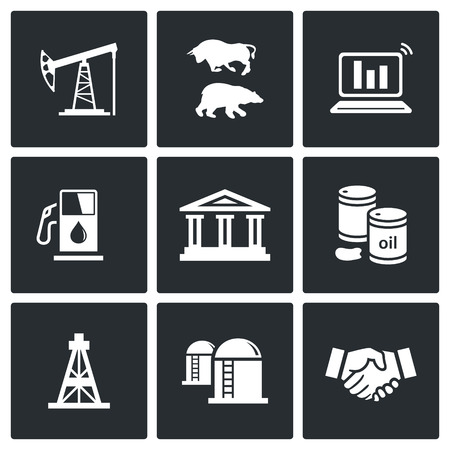 stock quotes: Oil and Gas Isolated Flat Icon collection isolated on a black background Illustration