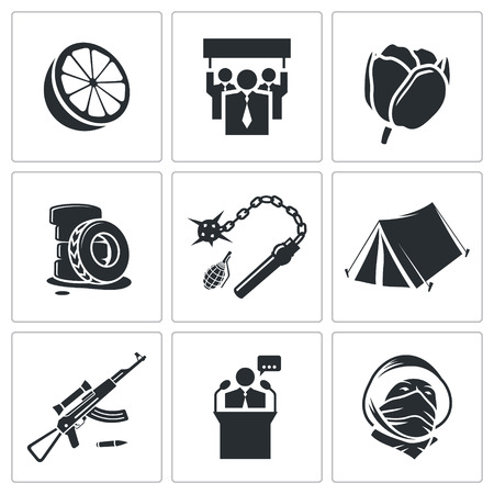 overthrow: street strike Icon collection isolated on a white background Illustration