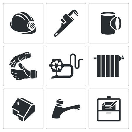 housing problems: Plumber Icon collection isolated on a white background Illustration