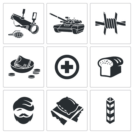 tyranny: Refugees Icon flat collection isolated on a white background Illustration