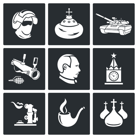 clergy: Russia Icon flat collection isolated on a black background Illustration