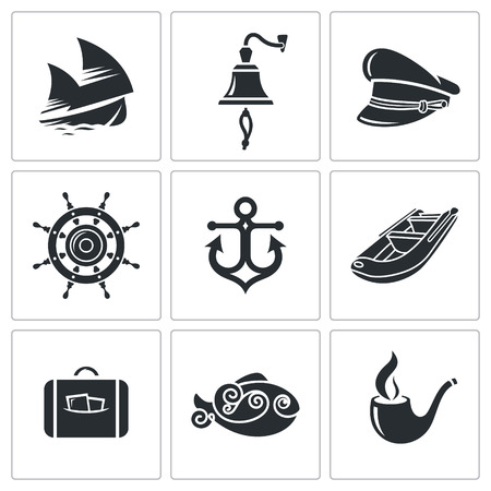 mooring anchor: sailing Icon flat collection isolated on a white background