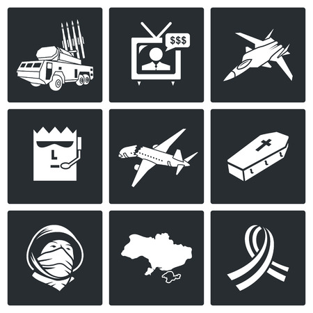 military press: Plane crash Icon flat collection isolated on a black background