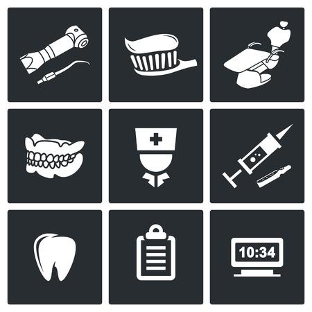 sillon dental: Icono de Medicina colecci�n plana aislado en un fondo negro