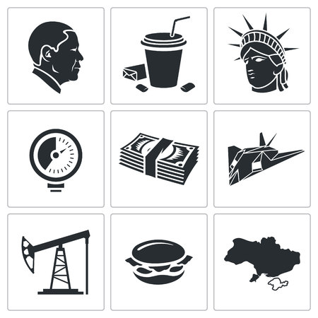 yankees: America Icon flat collection isolated on a white background