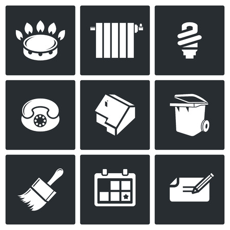 stove pipe: utilities Icon flat collection isolated on a black background Illustration