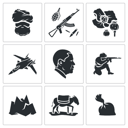 smuggling: Vector Isolated Flat Icons Set on a white background