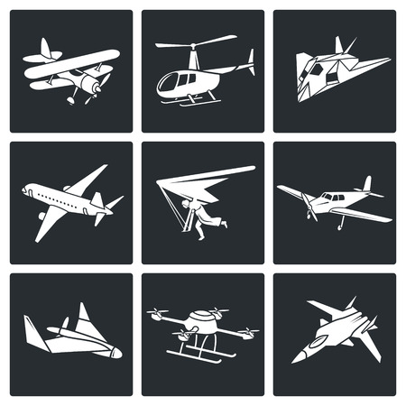 monoplane: airplane icons set Isolated Flat Icons collection on a black background