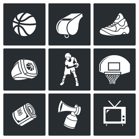 nba: Basketball game Vector Isolated Flat Icons collection on a black background Illustration