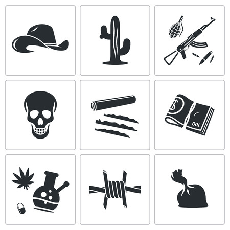 criminality: Mexican cartel Vector Isolated Flat Icons collection on a white background