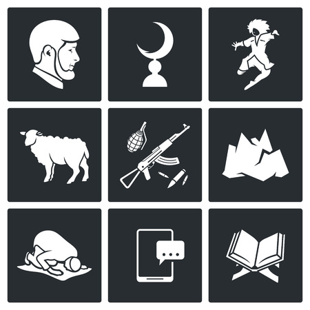 caucasus: Chechnya Vector Isolated Flat Icons collection on a black background