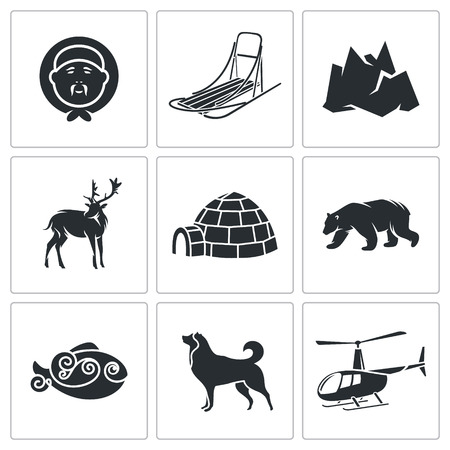 poacher: Chukchi Vector Isolated Flat Icons collection on a white background
