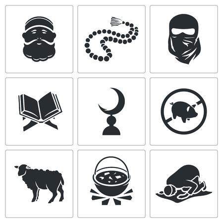 rosary: Vector Isolated Flat Icons Set on a white background