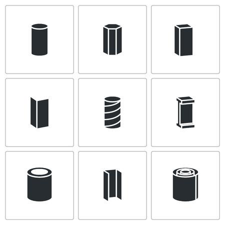 金属業界白の背景にベクトル分離フラット アイコン コレクション