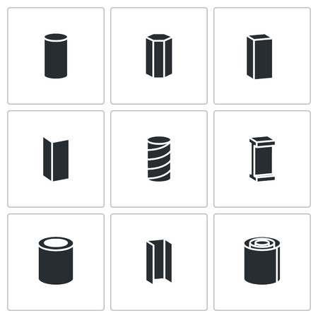 ferrous metals: Metal industry Vector Isolated Flat Icons collection on a white background
