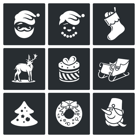 New Year Vector Isolated Flat Icons collection on a black background Vector