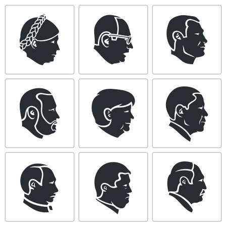 mayor: Different faces Vector Isolated Flat Icons collection on a white background Illustration