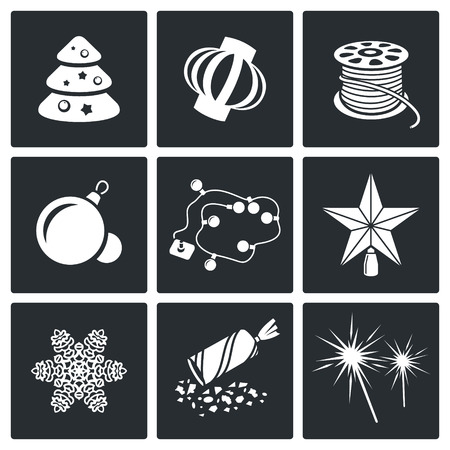 party poppers: Christmas decorations Vector Isolated Flat Icons collection on a black background