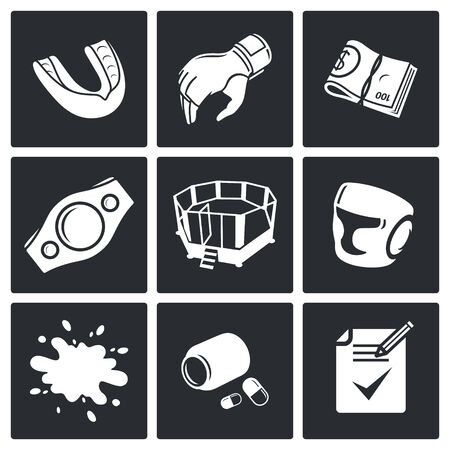 mix fighting: Male cruel sport Vector Isolated Flat Icons collection on a black background
