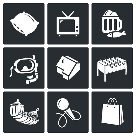 pastime: Pastime Vector Isolated Flat Icons collection on a black background Illustration