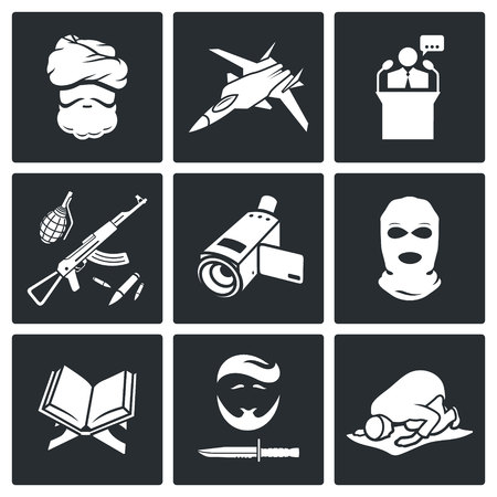 sheik: Jihad Vector Isolated Flat Icons collection on a black background