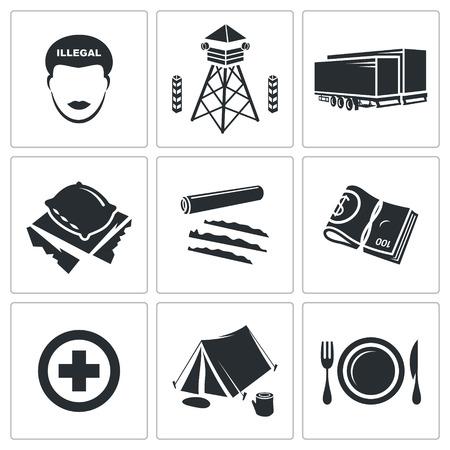 migraci�n: gente migraci�n Vector Aislado colecci�n Flat iconos sobre un fondo blanco Vectores
