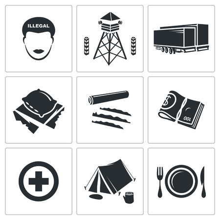 annexation: people migration Vector Isolated Flat Icons collection on a white background