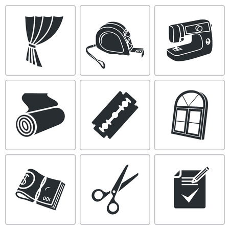 roll curtains: Sewing service Vector Isolated Flat Icons collection on a white background