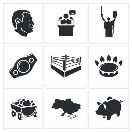 boxing ring: Ukraine Vector Isolated Flat Icons collection on a white background Illustration