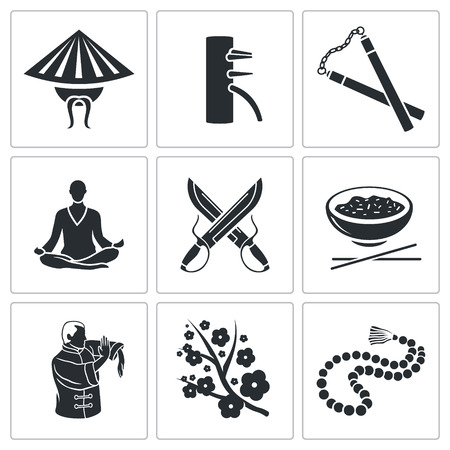 qigong: Vector Isolated Flat Icons collection on a white background Illustration