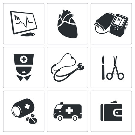 autopsy: Heart Vector Isolated Flat Icons collection on a white background