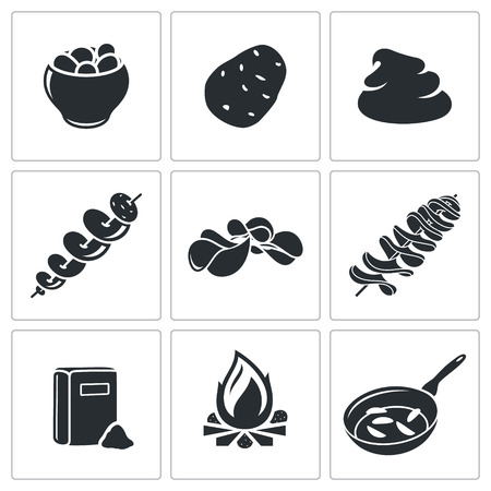 baked potatoes: potato Vector Isolated Flat Icons collection on a white background