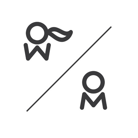 man and woman sex: male and female toilets sign isolated on a white background