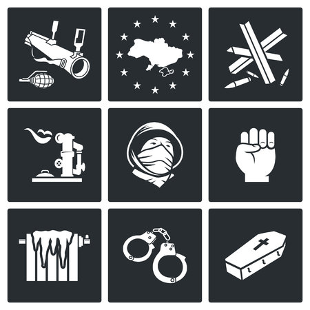 fall arrest: Ukraine Vector Isolated Flat Icons collection on a black background Illustration